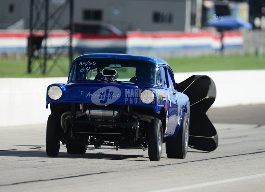 Sept 8, 2012; Clermont, IN, USA: NHRA gasser driver during qualifying for the US Nationals at Lucas Oil Raceway. Mandatory Credit: Mark J. Rebilas-
