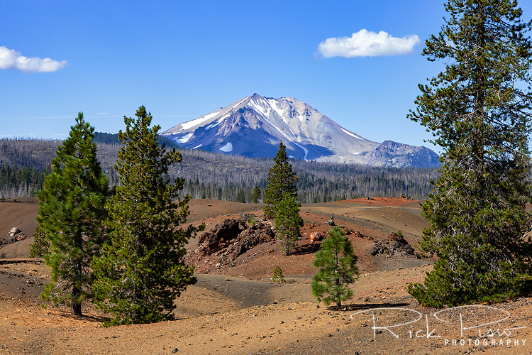 Mt Lassen rises to the west of the Painted Dunes in Lassen Volcanic National Park