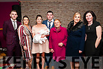 Baby Amelia Kelly, daughter of Sarah  Sammon & Josh Kelly who wa christened in St. Mary's Church, Listowel by Canon Declan O'Connor on Saturday last and afterwards at Christy's Bar, Listowel. L-R : Dylan Kelly, Jasamine Kelly, Sarah Sammon, John & Josh Kelly, Mary Enright, Geraldine Kelly & Sharon Sammon.
