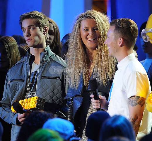 SANTA MONICA, CA - FEBRUARY 15: Victoria Azerenka, Lance Coury, and Austin North onstage at the Cartoon Network's Fourth Annual Hall of Game Awards at the Barker Hangar on February 15, 2014 in Santa Monica, California. The show will air on Cartoon Network, Monday, February, 17th at 7:00 PM ET/PT. MPI213 / MediaPunch