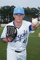 Burlington Royals pitcher Mark McCoy (41) poses for a photo prior to the game against the Bluefield Blue Jays at Burlington Athletic Park on July 1, 2015 in Burlington, North Carolina.  The Royals defeated the Blue Jays 5-4. (Brian Westerholt/Four Seam Images)
