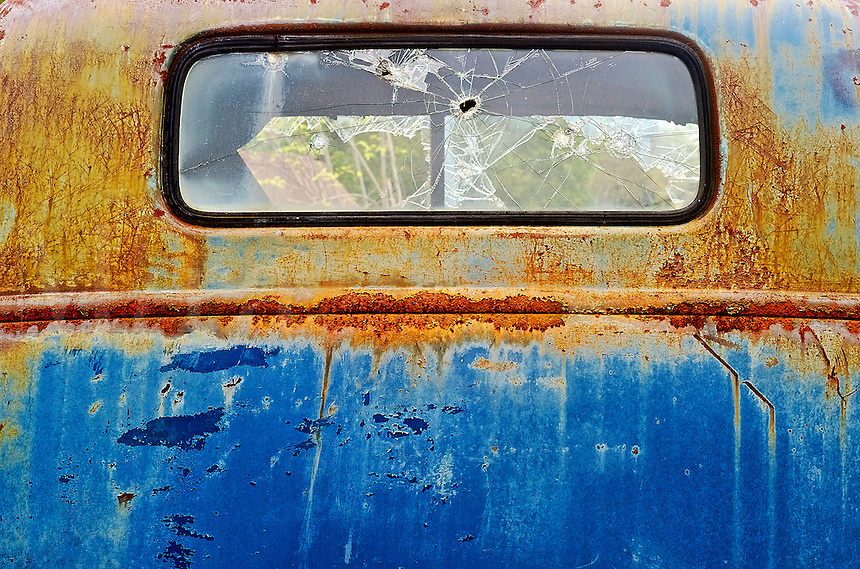 Detail of an abandoned rusted truck.