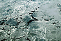 Sea ice breaking up over the Hudson Bay.