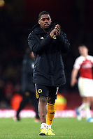 Ivan Cavaleiro of Wolves applauds the Wolves fans after Arsenal vs Wolverhampton Wanderers, Premier League Football at the Emirates Stadium on 11th November 2018