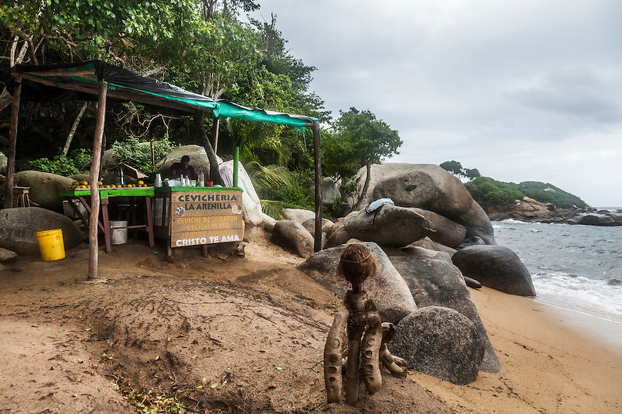 Ceviche stand in Tayrona National Park, near Santa Marta, Colombia.  The park is one of the most popular tourist destinations on Colombia's Caribbean coast.