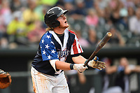 First baseman Dash Winningham (34) of the Columbia Fireflies bats in a game against the Rome Braves on Monday, July 3, 2017, at Spirit Communications Park in Columbia, South Carolina. Columbia won, 1-0. (Tom Priddy/Four Seam Images)
