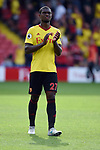Christian Kabasele of Watford thanks the fans at the end of the premier league match at the Vicarage Road Stadium, Watford. Picture date 26th August 2017. Picture credit should read: Robin Parker/Sportimage