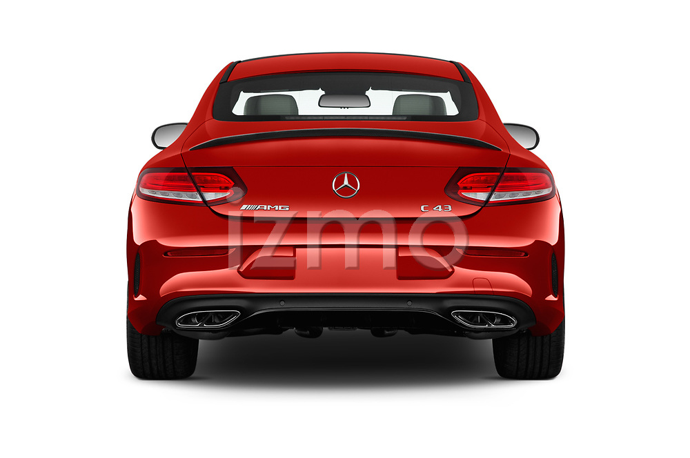 Straight rear view of 2017 Mercedes Benz C-Class AMG-C43 2 Door Coupe Rear View  stock images