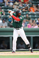 Outfielder Carlos Mesa (28) of the Greenville Drive bats in a game against the Rome Braves on Sunday, June 14, 2015, at Fluor Field at the West End in Greenville, South Carolina. Rome won, 5-2. (Tom Priddy/Four Seam Images)
