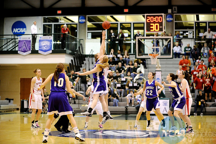 19 MAR 2011:  Athletes compete during the 2011 NCAA Women's Division III Basketball Championship held at the Shirk Center on the campus of the Illinois Wesleyan University in Bloomington, IL. Brett Wilhelm/NCAA Photos