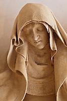 Europe/Europe/France/Midi-Pyrénées/46/Lot/Carennac: Mise au tombeau du XV ème dans la salle  capitulaire du cloitre -  Détail : La Vierge