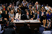 Associate Justice of the Supreme Court-designate Brett Kavanaugh smiles as he stands up for the first break in his U.S. Senate Judiciary Committee confirmation hearing on Capitol Hill in Washington, U.S., September 4, 2018. <br /> Credit: Jim Bourg / Pool via CNP