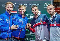 The Hague, The Netherlands, September 13, 2017,  Sportcampus , Davis Cup Netherlands - Chech Republic, Draw, Doubles Middelkoop - Griekspoor (NED) (L) vs Adam Plavasek - Roman Jebavy (CZE)<br /> Photo: Tennisimages/Henk Koster