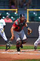 Great Lakes Loons catcher Garrett Kennedy (14) during a game against the Clinton LumberKings on August 16, 2015 at Ashford University Field in Clinton, Iowa.  Great Lakes defeated Clinton 3-2 in ten innings.  (Mike Janes/Four Seam Images)