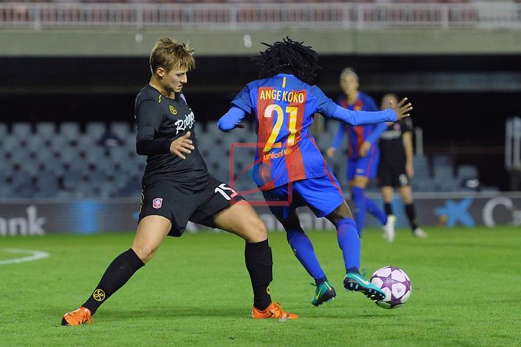 UEFA Women's Champions League 2016/2017.<br /> Round of 16 - First Leg<br /> FC Barcelona vs Twente: 1-0.<br /> Erman vs Ange Koko.