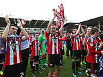 Sheffield United's Paul Coutts celebrates with the trophy during the League One match at Bramall Lane, Sheffield. Picture date: April 30th, 2017. Pic David Klein/Sportimage
