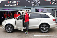 Real Madrid player Pepe participates and receives new Audi during the presentation of Real Madrid's new cars made by Audi at the Jarama racetrack on November 8, 2012 in Madrid, Spain.(ALTERPHOTOS/Harry S. Stamper) .<br />