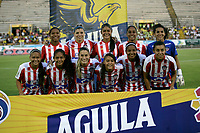 NEIVA - COLOMBIA ,31-08-2019:Formación del Atlético Junior femenino.Acción de juego entre los equipos femeninos de Atlético Huila y el Atlético  Junior  durante partido por los cuartos de final  de la Liga  Águila Femenina 2019 jugado en el estadio Guiilermo Plazas Alcid de la ciudad de Neiva. /Team of Atletico Junior women´s.<br /> Play action between the Atlético Huila and Atlético Junior women's teams during the quarterfinal match of the 2019 Women's Liga Águila 2019 played at the Guiilermo Plazas Alcid stadium in the city of Neiva. Photo: VizzorImage / Sergio Reyes  / Contribuidor.