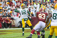 Landover, MD - September 23, 2018: Green Bay Packers quarterback Aaron Rodgers (12) throws a pass during the  game between Green Bay Packers and Washington Redskins at FedEx Field in Landover, MD.   (Photo by Elliott Brown/Media Images International)