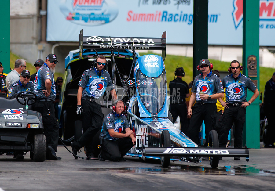 Jun 9, 2019; Topeka, KS, USA; Crew members for NHRA top fuel driver Antron Brown during the Heartland Nationals at Heartland Motorsports Park. Mandatory Credit: Mark J. Rebilas-USA TODAY Sports