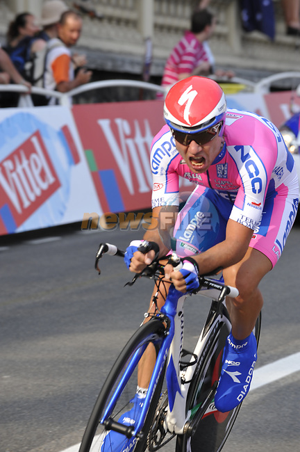 Lampre-N.G.C. team rider Mauro Santambrogio (ITA) in the last kilometre during the Prologue Stage 1 of the 2009 Tour de France a 15.5km individual time trial held around Monaco. 4th July 2009 (Photo by Eoin Clarke/NEWSFILE)