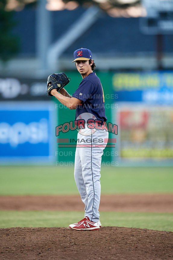 State College Spikes relief pitcher Troy Montemayor (16) gets ready to deliver a pitch during a game against the Batavia Muckdogs on July 7, 2018 at Dwyer Stadium in Batavia, New York.  State College defeated Batavia 7-4.  (Mike Janes/Four Seam Images)