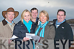 CHECK: Checking the form of the horses at the Ballyheigue Races on Sunday were l-r: Michael Dowling, Sheila McEvoy, Timmy Griffin, Mary Dowling and Mark McEvoy (Ballyheigue).   Copyright Kerry's Eye 2008