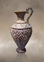 Minoan stone ewer jug  with relief pattern from the  Knossos  Palace 1600-1450 BC, Heraklion Archaeological  Museum.