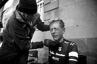 face off for Hugh Carthy (GBR) post-race<br /> <br /> 2013 Tour of Britain<br /> stage 1: Peebles - Drumlanrig Castle, 209km