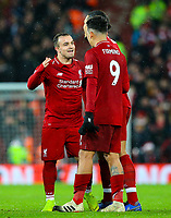 Liverpool's Xherdan Shaqiri celebrates after the game<br /> <br /> Photographer AlexDodd/CameraSport<br /> <br /> The Premier League - Liverpool v Manchester United - Sunday 16th December 2018 - Anfield - Liverpool<br /> <br /> World Copyright &copy; 2018 CameraSport. All rights reserved. 43 Linden Ave. Countesthorpe. Leicester. England. LE8 5PG - Tel: +44 (0) 116 277 4147 - admin@camerasport.com - www.camerasport.com