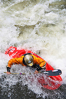 Overhead view of whitewater kayaker on The Gore River in Vail Colorado.
