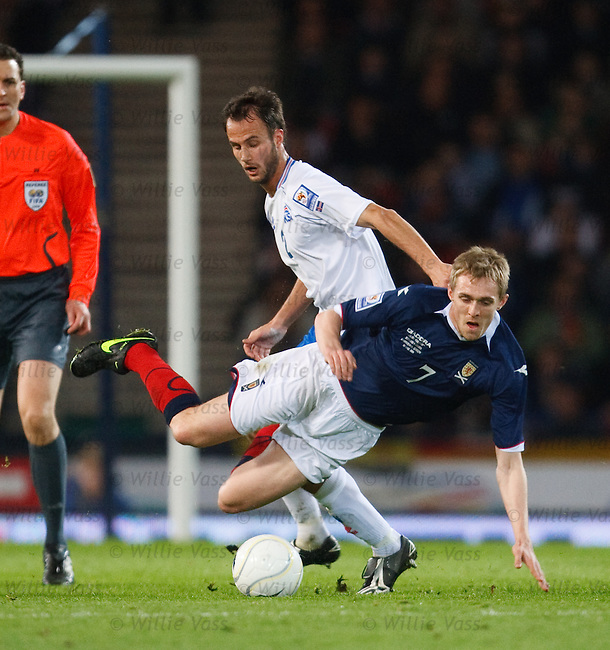 Darren Fletcher fouled by Helgi Valur Danielsson