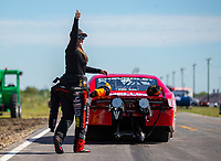 Apr 22, 2018; Baytown, TX, USA; NHRA pro stock driver Erica Enders-Stevens reacts during the Springnationals at Royal Purple Raceway. Mandatory Credit: Mark J. Rebilas-USA TODAY Sports