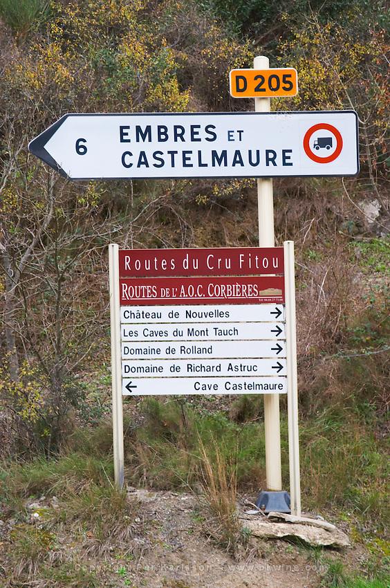 Embres et Castelmaure, Fitou and Corbieres wine road, Chateau de Nouvelles, caves de Mont Tauch, Domaine Rolland, Domaine de Richard Astruc, Cave Castelmaure. Fitou. Les Corbieres. Languedoc. France. Europe.