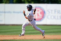 Staten Island Yankees shortstop Eduardo Torrealba (13) runs the bases during a game against the Lowell Spinners on August 22, 2018 at Richmond County Bank Ballpark in Staten Island, New York.  Staten Island defeated Lowell 10-4.  (Mike Janes/Four Seam Images)