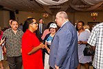WATERBURY, CT. 18 July 2019-071819 - Young democrat Francisco Ramos, left, talks to Waterbury Mayor Neil O'Leary after the Waterbury Democratic Town Committee meeting of picking its slate of candidates for this years elections at the Waterbury Portuguese Sport Club in Waterbury on Thursday. Bill Shettle Republican-American
