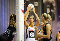 31.08.2016 South Africa's Lenize Potgieter in action during the Netball Quad Series match between the Silver Ferns and South Africa played at Claudelands Arena in Hamilton. Mandatory Photo Credit ©Michael Bradley.