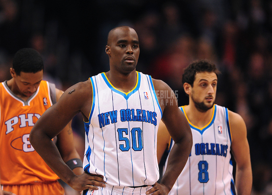 Dec. 26, 2011; Phoenix, AZ, USA; New Orleans Hornets center Emeka Okafor (50) during game against the Phoenix Suns at the US Airways Center. The Hornets defeated the Suns 85-84. Mandatory Credit: Mark J. Rebilas-USA TODAY Sports