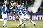 CD Leganes' Unai Lopez (r) and Celta de Vigo's Nemanja Radoja during La Liga match. January 28,2017. (ALTERPHOTOS/Acero)