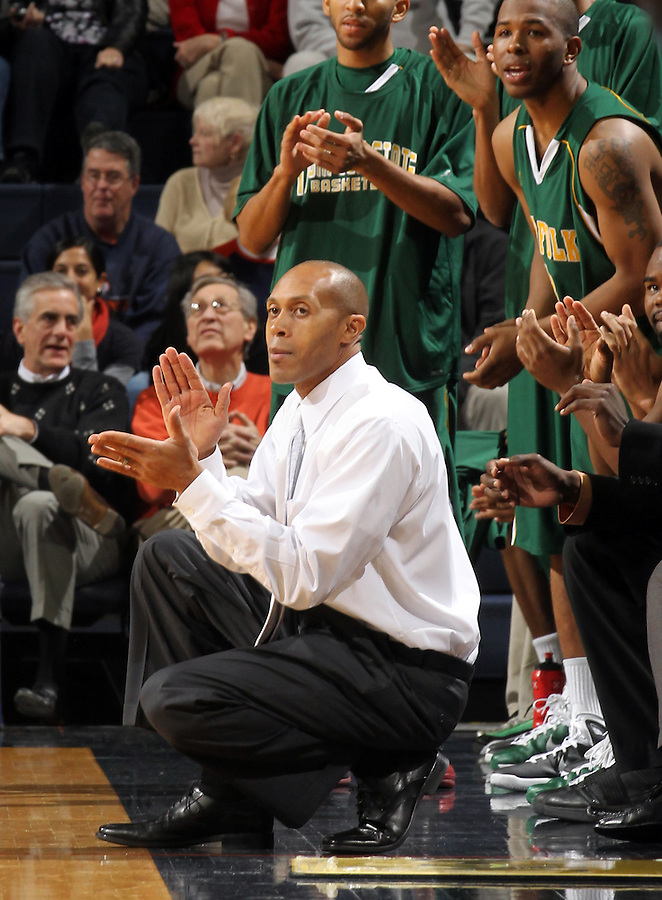 Dec. 20, 2010; Charlottesville, VA, USA; Norfolk State Spartans head coach Anthony Evans reacts to a play during the game against the Virginia Cavaliers at the John Paul Jones Arena. Mandatory Credit: Andrew Shurtleff
