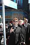 Jordan Roth with Barry Manilow unveiling the new street sign 'Manilow Way' on West 44th Street in a renaming ceremony celebrating 'Manilow on Broadway' at the St. James Theatre in New York City on 1/22/2013