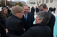 From left to right: Former United States Solicitor General Ted Olson, Microsoft President Brad Smith, and President of Princeton University Christopher Eisgruber speak after the Supreme Court heard arguments on the Deferred Action for Childhood Arrivals program in Washington D.C., U.S. on Tuesday, November 12, 2019.<br /> <br /> Credit: Stefani Reynolds / CNP /MediaPunch