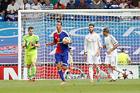 Iker Casillas, Sergio Ramos and pepe of Real Madrid and Marco Streller (FC Basel) during the Champions League group B soccer match between Real Madrid and FC Basel 1893 at Santiago Bernabeu Stadium in Madrid, Spain. September 16, 2014. (ALTERPHOTOS/Caro Marin) /NortePhoto.com