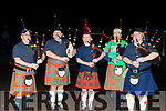 Terra Nova pipe band members at the the South pole Inn, Anascaul, ringing in the new year, L-R George Hayes, Terry Harrison, Greg Martin, Thomas novicki and pipe major Bob Wade