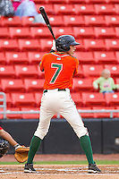 Christian Yelich #7 of the Greensboro Grasshoppers at bat against the Hickory Crawdads at L.P. Frans Stadium on May 18, 2011 in Hickory, North Carolina.   Photo by Brian Westerholt / Four Seam Images