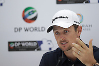 Justin Rose (ENG) speaking during his press conference ahead of the DP World Tour Championship, Earth Course, Jumeirah Golf Estates, Dubai, UAE.  18/11/2015.<br /> Picture: Golffile | Fran Caffrey<br /> <br /> <br /> All photo usage must carry mandatory copyright credit (&copy; Golffile | Fran Caffrey)