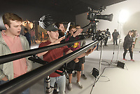NWA Democrat-Gazette/FLIP PUTTHOFF <br /> Fayetteville High School students interested in the television and movie industries, including Sam Kieklak (second from left) look at camera equipment Feb. 5 2019 at Farm Studios.