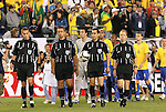 06 June 2008: The match officials lead the starters onto the field. From left: Assistant Referee Adam Wienckowski, Fourth Official Arkadiusz (Alex) Prus, Referee Jair Marrufo, Assistant Referee Corey Rockwell. The Venezuela Men's National Team defeated the Brazil Men's National Team 2-0 at Gillette Stadium in Foxboro, Massachusetts in an international friendly soccer match.