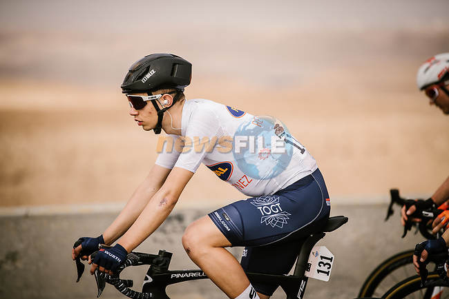 White Jersey Andreas lorentz Kron (DEN) Riwal Readynez Cycling Team during Stage 3 of the Saudi Tour 2020 running 119km from King Saud University to Al Bujairi, Saudi Arabia. 6th February 2020. <br /> Picture: ASO/Pauline Ballet | Cyclefile<br /> All photos usage must carry mandatory copyright credit (© Cyclefile | ASO/Pauline Ballet)