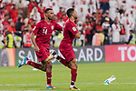 Hamid Ismaeil Khaleefa of Qatar (R) celebrating his score with Salem Al Hajri of Qatar (L) during the AFC Asian Cup UAE 2019 Semi Finals match between Qatar (QAT) and United Arab Emirates (UAE) at Mohammed Bin Zaied Stadium  on 29 January 2019 in Abu Dhabi, United Arab Emirates. Photo by Marcio Rodrigo Machado / Power Sport Images
